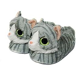 Zapatillas De Animales Para Mujeres, Pantuflas Zapatillas De Invierno Gato Para Mujeres (28-30 EU, Gris)