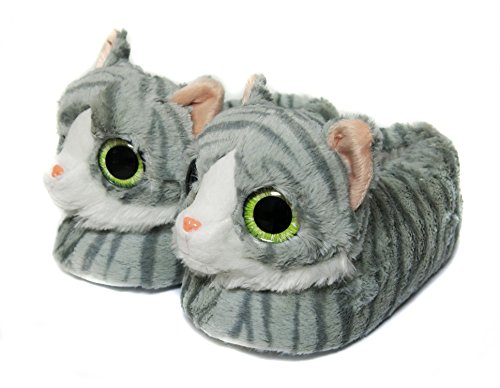 Onmygogo Novelty Slippers for Women Men and Kids, Indoor Furry Winter Cat Plush Slippers for Adult and Kid