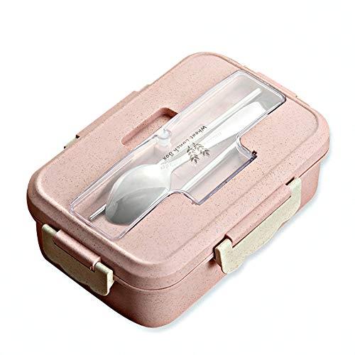 Scatole bento, bento box con 3 scomparti, 1000 ml lunch box con posate, senza bpa, cucchiaio per bambini e adulti, microonde, lavabile
