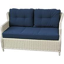 divano a 2 posti MOBILI DA GIARDINO in RATTAN classico. elegante. confortevole. bianco. alluminio. Cuscini 10 cm. lounge