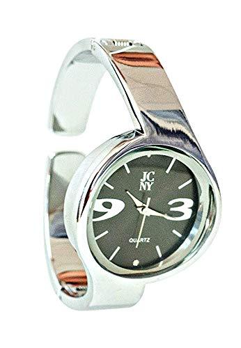 Elegante Damen-Armbanduhr, modern mit Ziffern in grau, Silber und schwarz, hochwertiges Japan Uhrwerk, analoge Anzeige und Armreif, Marken Uhr von Jimmy Crystal New York (dunkelgrau)
