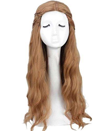 Kostüm Lannister Cosplay Cersei - Cersei Lannister Perücke Cosplay Wig Geflochten Lang Blonde Perücke für Damen und Mächen Film Kostüm Zubehör für Party, Karneval und Fasching