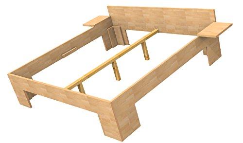 Baßner Holzbau 27mm Echtholzbett Massivholzbett Buche 160x200 Fuß II 55cm Rahmenhöhe