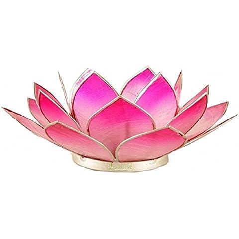Portalumino Capiz Loto dei Chakra rosa 13 cm fatto a mano