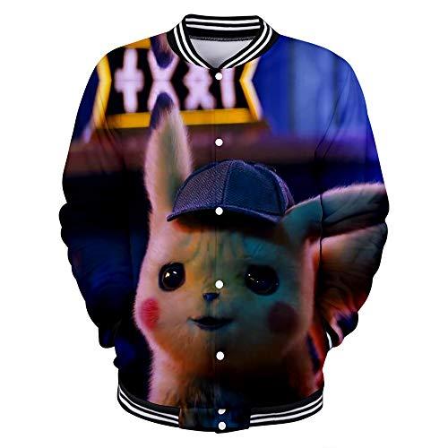 WQWQ Pokemon Baseball für Männer und Frauen Pikachu Weihnachten Freizeitjacke Pokémon Bekleidung für Vier Jahreszeiten L XL XXL,A,XS (Vier Jahreszeiten Sommer Kostüm)