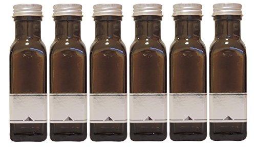 Ölflasche 100ml 6er Set, grün-braune Glasflasche zum selbst befüllen, inkl. 6 Etiketten (Schnaps Beispiel Flaschen)