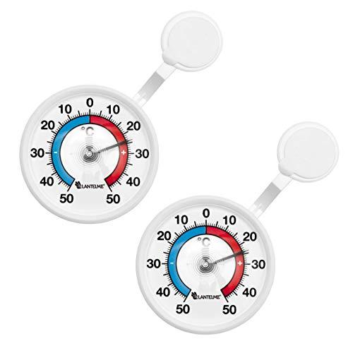 Lot de 2-bimetall fenêtre thermomètre analogique extérieure mako-fabriqué en allemagne-thermomètre-affichage de la température de 40 °c avec haltearm rotatif en plastique blanc.