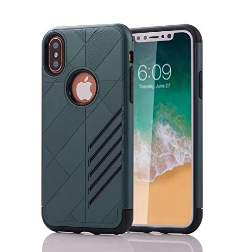 iPhone X Armor Cover, Super Cool Hybrid Tangram Diagonal Holdes Style Slim Armour Custodia, TAITOU Fashion Ultralight Thin Phone Cover For Apple iPhone X Golden BNavyBlue