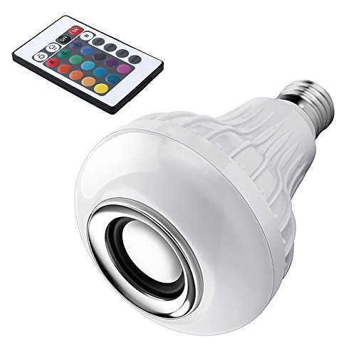 kangOnline 12 W E27 LED RGB Altavoz inalámbrico Bluetooth Foco de música lámpara de reproducción con Mando a Distancia para decoración de Navidad