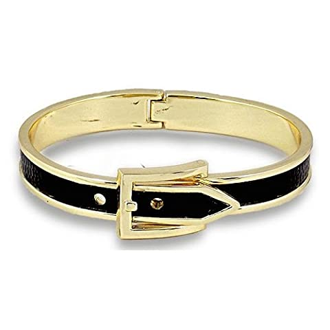 Bracelet Jonc en émail noir boucle de ceinture menottes en cuir pour femme