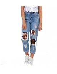 La Modeuse - Jeans destroy taille haute avec collants résille à maille large noir intégrés