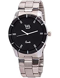WM Black Dial Silver Leather Strap Watch For Men And Boys AWC-011 AWC-011omt
