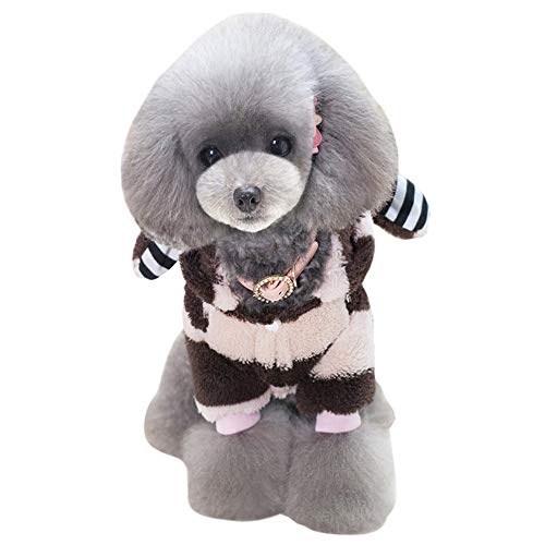 GODGETS Teddy Fleece Jacke für Hunde Warm Hoodies Mantel Kleidung Pullover mit Hasenohren Kapuze,Rosa,(25×37×26 cm)