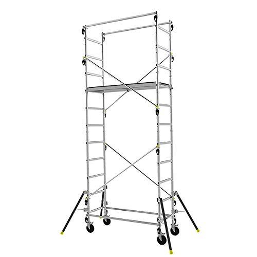 Echafaudage roulant en aluminium à structure évolutive (3 hauteurs possibles) - 4.7m haut. travail...