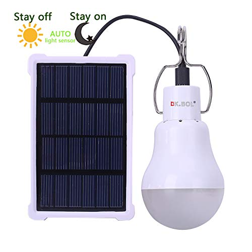 KK. BOL - Lámpara Solar portátil LED con Panel Solar Recargable para...