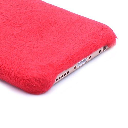 iProtect Schutzhülle Apple iPhone 6 6s Glitzer Hardcase weihnachtliches Design mit Wollmütze in schwarz Rot Rentier