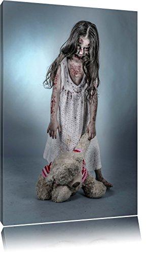 (Kleines gruseliges Mädchen mit Teddy Format: 80x60 auf Leinwand, XXL riesige Bilder fertig gerahmt mit Keilrahmen, Kunstdruck auf Wandbild mit Rahmen, günstiger als Gemälde oder Ölbild, kein Poster oder Plakat)