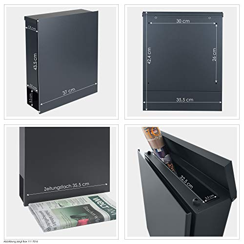 MOCAVI Box 111 Design-Briefkasten mit Zeitungsfach anthrazit-grau (RAL 7016) Wandbriefkasten, Schloss rechts, groß, Aufputzbriefkasten dunkelgrau, Postkasten anthrazitgrau modern mit Zeitungsrolle - 4