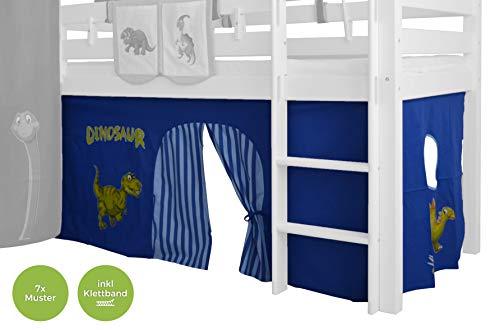 XXL Discount Kinderbett Vorhang für Kinderbett 90x200 inkl Klettband für Hochbett Spielbett Etagenbett Stockbett (Hell Blau/Dunkel Blau, Dino)
