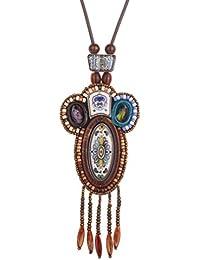 Yazilind Bohemia colgante, collar de cerámica del estilo étnico joyería de los granos de la borla de las mujeres regalos para los cumpleaños de la joyería