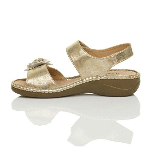 Donna tacco medio zeppa velcro fiore comode per camminare casual sandali numero Oro