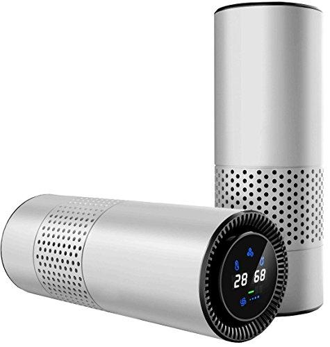 HEPA-Filter Luftreiniger für Allergiker, entfernen Rauchen Staub Pollen und schlechte Gerüche, Luftfilter-Erfrischungs Perfekt für Auto-Büro-Desktop-und Schlafzimmer Luftreiniger (Silber)