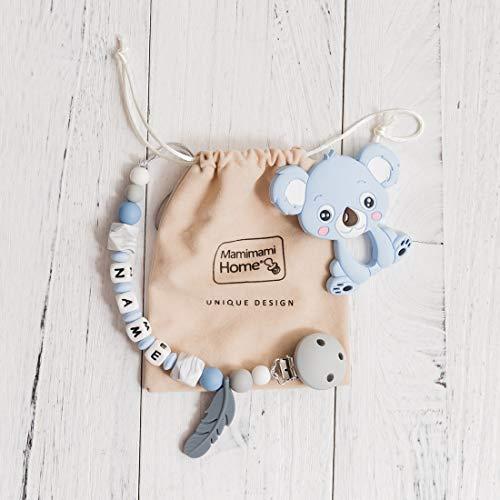 Mamimami Home 1pc Kinderkrankheiten Perlen Silikon Koala Baby Beißring Feder Kauen Schnuller Clip Brief Perlen Montessori Spielzeug (Blau) - Schnuller-clip Kauen