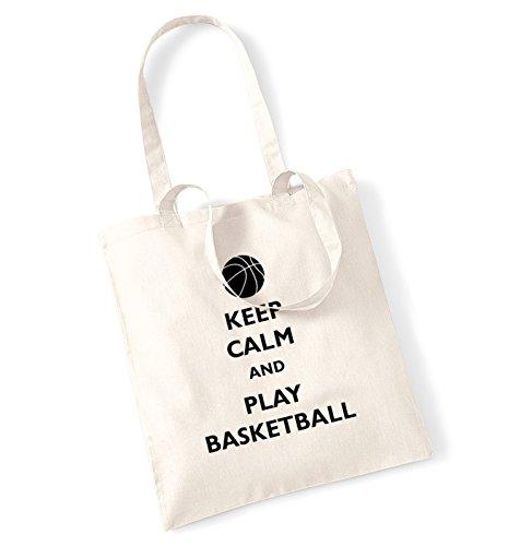 """Keep calm and play-Borsa palla da basket natur"