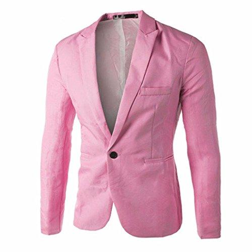 Elecenty Herren Übergangsjacke Blazer Jacke Solide Outdoorjacke Mantel Männer Oberbekleidung Pullover Sweatshirts Streetwear Steppjacke Outwear (M, Rosa) (Volcom-vintage-pullover)