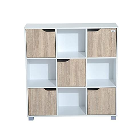 HOMCOM Cubic Bookcase Multi-Cells Bookshelf Indoor Office Home Storage Unit Cabinet (9 Cubes, White &