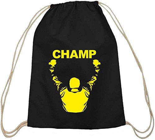 Shirtstreet24, CHAMP, boxen Boxer Baumwoll natur Turnbeutel Rucksack Sport Beutel schwarz natur