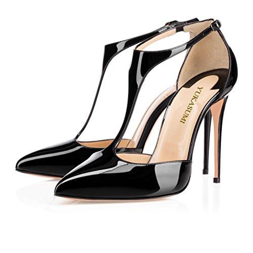 EDEFS Femmes Artisan Fashion 120MM Escarpins Brillants Bout Pointus Bride Cheville Des Couleurs Chaussures à talon haut Argenté Noir