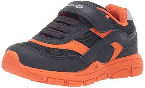 Geox New Torque Boy J847NA Jungen Slip-on Sneaker,Kinder Halbschuh,Sportschuh,Slipper,Gummizug,Klettverschuss,Navy/Orange,28 (Slip On Kids)