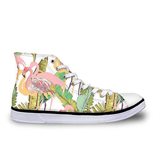 Trendy Lace Up Hi Top Canvas Sneakers Womens Ladies School Sport Trainers Pump Flamingo UK 5 -