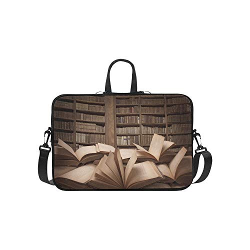 Stapel offene Bücher auf Tabelle Aktenkoffer Laptoptasche Messenger Schulter Arbeitstasche Crossbody Handtasche für Geschäftsreisen -