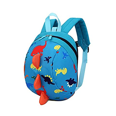 Cartoon Toddler Baby Harness Backpack, Yimoji Leash Safety Anti-los Strap Walker Dinosaur Backpack for Kids Girls and Boys (Blue)