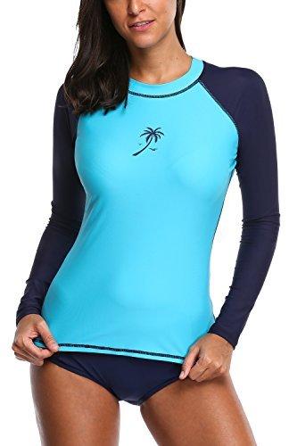 Sociala Damen Rash Guard Langarm Swim Rashguard Surf Shirt UV-Schutz UPF 50+ UV-Shirt Blau 2XL