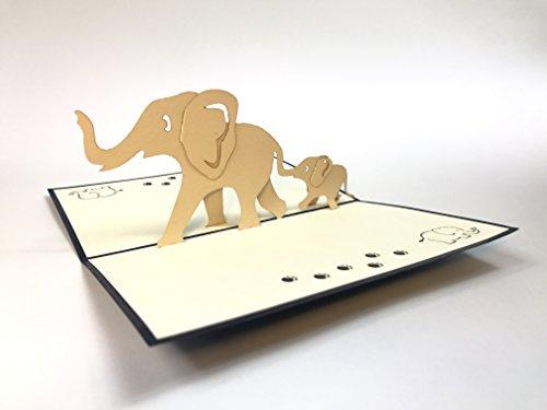 3D-Pop-up-Grußkarte mit Elefantenfamilie für Jahrestag, Baby-Geburtstag, Ostern, Halloween, Muttertag, Vatertag, Einzug in ein neues Zuhause, Neujahr, Thanksgiving, Valentinstag, Hochzeit, Weihnachten