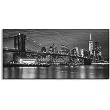 Brooklyn Bridge New York Skyline Landmark Schwarz Und Wei Panorama Wandbild  Auf Leinwand Print Fr Wohnzimmer Badezimmer Kche Home Decor Bild With New  York ...