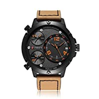 ZZbaixinglongan Style Men Sports Date Analog Quartz Leather Stainless Steel Wrist Watch Calendar Watch for Camping, Picnic and Other Outdoor Activities(None Black shell, black face, orange!)