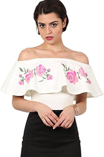 PILOT® imprimé floral embossé jabot bardot bodysuit Crème