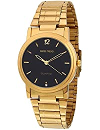 Swiss Trend Mens Golden Watch With Black Dial