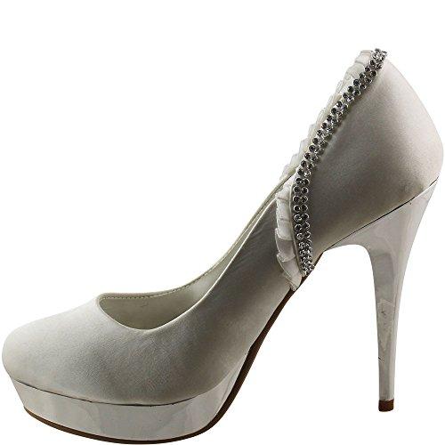Party Plateau High Heel mit silber glänzenden Absätzen Stiletto Pfennigabsatz Schwarz, Weiß V1565 36