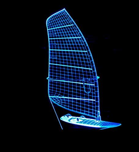 Luce Notturna 3D Illusione Ottica Led Lampada Barca A Vela Interruttore Tattile Cambio 7 Colori Lampada Da Letto Per Camera Da Letto Per Bambini, Regali Per Feste Di Compleanno Per Bambini