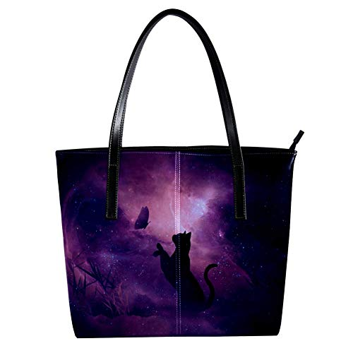 Women's Bag Shoulder Tote handbag with Cat Playing With Butterfly print Zipper Purse PU Leather Top-handle Zip Bags -