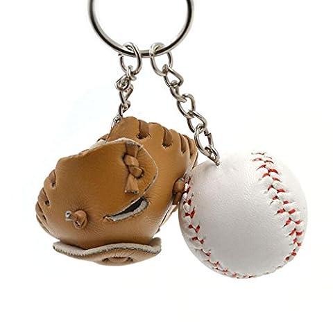 Mini-baseball Balle + Bat + Set Gant Pendentif Porte-clés Cadeau Porte-clés - Marron
