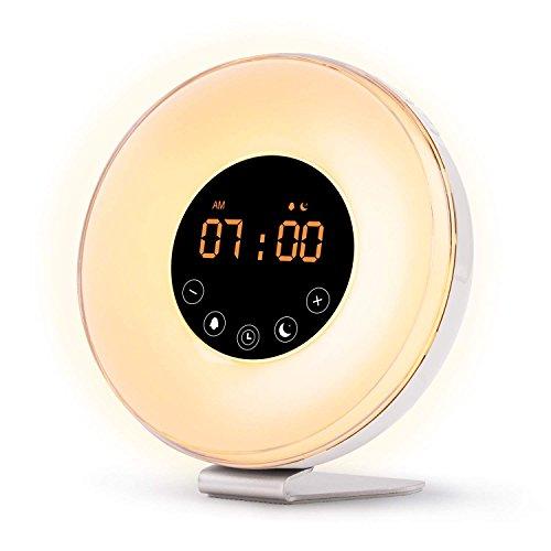 Wake Up Licht, Fukkie Lichtwecker mit Sonnenaufgang Simulation, FM Radio, 6 Natürliche Sounds und Snooze Funktion, Tageslichtwecker Nachtlicht mit 7 Farben, Nachttischlampe für Erwachsene und Kinder