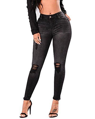 Donna Strappati Jeans Vita Alta Elastico Skinny Denim Pantaloni Leggings Lunghi Matita Pantalone Nero