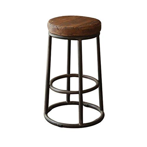 Frühstücksstühle Barhocker Hoher Schemel, hölzerner Kissen-Sitz-rundes kreatives Metallbarren-Frühstück-Hauptküche-Kaffeestühle Vintage rustikale Industriedesign (größe : 36 * 36 * 75cm) -