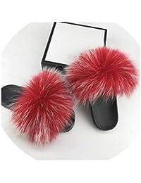 brand new 9665f 36edb Real Fox Pantuflas de Pelo Flip Flops Zapatos de Verano Zapatillas de Playa